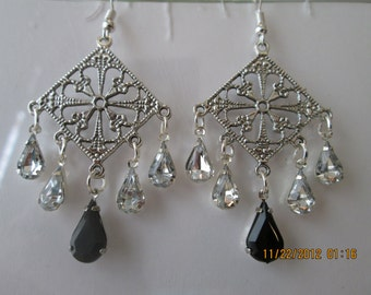 Silver Tone Chandelier Earrings with Clear and Black Teardrop Crystal Dangles