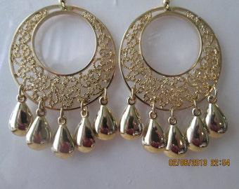 Gold Tone Hoop Earrings with Gold Tone Teardrop Dangles