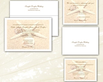 Personalized Starfish, Sand & Seashells Beach Wedding Invitations. Optional RSVP cards, inserts and return address printing. Affordable!