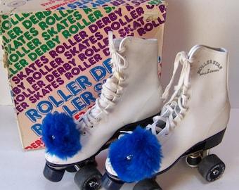 Vintage Roller Derby Roller Skates in Original Box.Size 9.Vintage Ladies Roller Skates.Vintage White Roller Skates.Roller Skating Party.