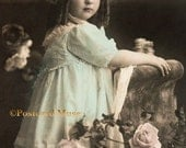 Girl With Roses - New 4x6 Vintage Image Photo Print - CE108