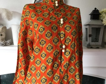 60s Ethnic Look Ball Button Tunic Blouse