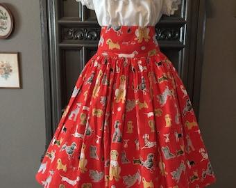 Fun Tammis Keefe Novelty Print Dog Skirt 34 W