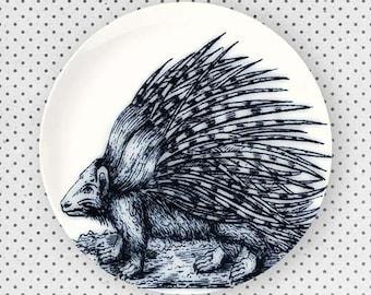 Porcupine, Blue porcupine melamine plate