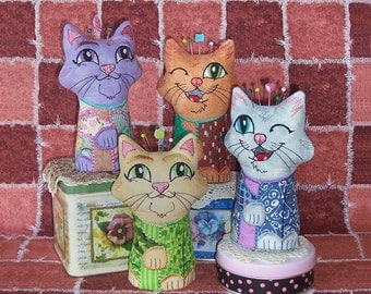 Adorable Cat pincushion with multi-colored coat Embroidered Appliqued Decorative and Useful Pincushions