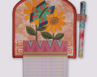 Abstract Butterfly Floral Design Embroidered Notepad Holder