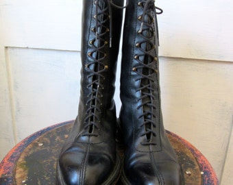 Black Leather Lace Up Boots - Sartore - Calf Height - Made in France - Leather Lined - Leather Soles - Stacked Heel