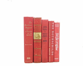 Bittersweet Decorative Books, Red Coral Old Book Set, shabby chic Book Decor, Wedding centerpiece, Book collection, Vintage BOok Set