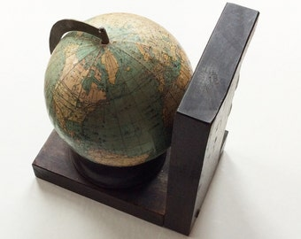 1 Vintage Globe, Old World Bookend with Asian Characters