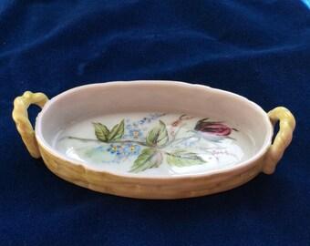 Italian Ceramic Dish, Basket Design, Floral
