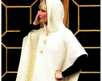"""Vintage 70s Knitted Hooded """"TOGGLE"""" Cape / Poncho - PDF Pattern - UK"""