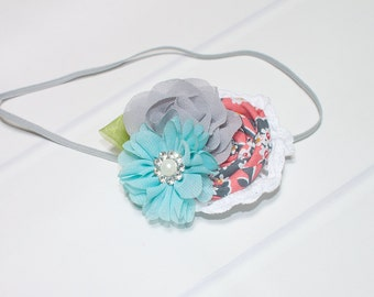 Grey-ful for Coral - headband in coral, aqua, grey with hints of red and yellow (RTS)