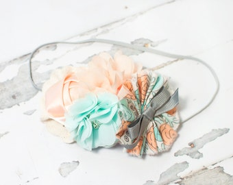 Peach Ice - headband in light peach, aqua, grey and cream