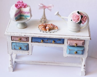 Shabby chic Paris Side Cupboard croissant,cake stand,cake,eiffel tower,roses-miniature dollhouse12th scale-furniture