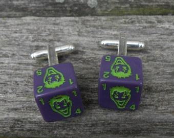 Vintage Joker Dice Cufflinks.  Gift For Groom, Groomsmen, Dad, Birthday, Anniversary, Birthday. Comic.