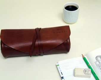 100% handmade leather pencile case, pouch, handstitched brown leather, GENATI, man gift, woman