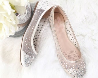 Women Wedding Shoes, Bridesmaid Shoes - Ballet Flats Mesh with rhinestones. Perfect for brides, bridesmaid gifts, wedding party shoes
