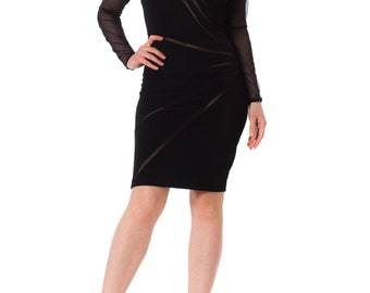 1990s Casadei Black Bodycon Mini Dress SIZE: S, 2-4