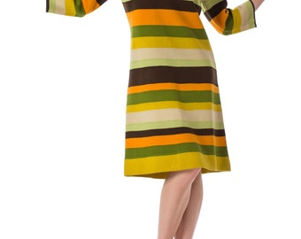 1960s MOD Knitted Striped Long Sleeve Wool dress