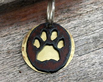 Paw Print Dog Tag w/ Name & Number