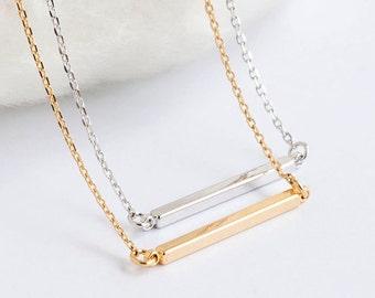 Short Skinny Slim Straight Sideways Bar Necklace, Silver / Gold, Minimalist Long Short Layering Jewelry, BJ Lj gj
