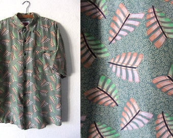 Leaves Print Abstract Silk Shirt - 90s Hip Hop Style Vaporwave Oversized Short Sleeve Button Down - Baggy Mens Medium