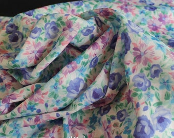 Floral Polyester Blend Fabric - Stretchy Dress or Blouse Material - Pink, Blue, Green Print - Light to Medium Weight - Good Drape -  4 Yards