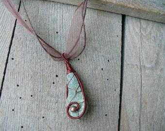 Sea stone pendant, metal beads jewelry, beach stone pendant, wire wrapped pendant, genuine sea stone, sea stone jewelry, copper wire