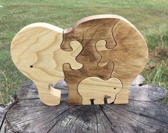 Elephant toy gift etsy wooden puzzle elephants wood puzzle animal puzzle zoo animal kids puzzle wooden toy wood toy baby negle Gallery
