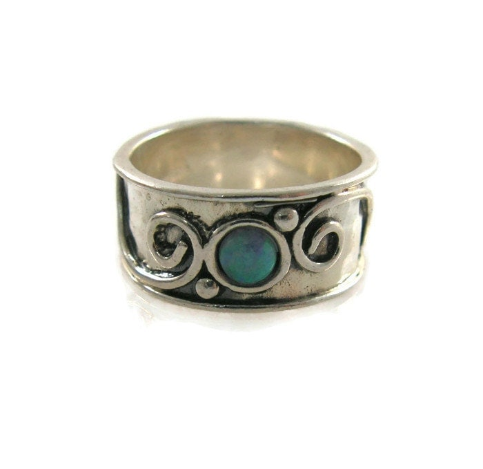 silver ring sterling silver opal ring wide silver ring wide