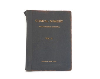 1908 Clinical Surgery Book Pebbled Black Leather Volume II with 150 Colored Plates