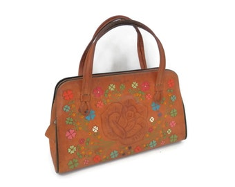 Tooled Leather Bag Extra Large with Brightly Painted Flowers