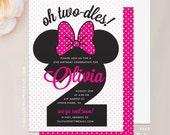 """Minnie Mouse Birthday Invitation - 5""""x7"""" Invite & Envelope - Two-dles Minnie Mouse Invitation, Second Birthday Invitation, First Birthday"""