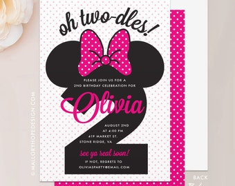 "Minnie Mouse Birthday Invitation - 5""x7"" Invite & Envelope - Two-dles Minnie Mouse Invitation, Second Birthday Invitation, First Birthday"