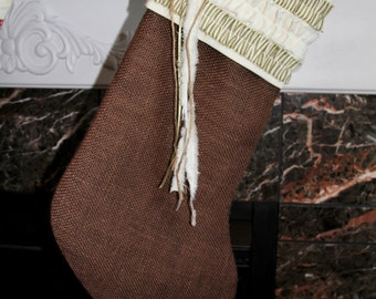 READY TO SHIP! Brown Burlap With Cream and Country Green Striped Christmas Stocking