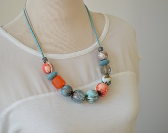 Wooden statement necklace, big bead necklace, decoupage jewellery, unique Mothers Day gift