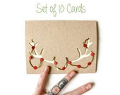 Christmas Card Set of 10: Antlers with Garland--Laser Cut Card Set