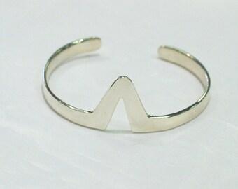 Geometric Chevron Stripe Cuff Bracelet Sterling Silver Minimalist Jewelry