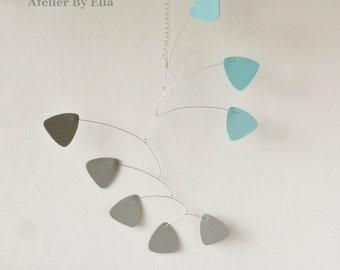 Hanging art mobile, Grey and blue , Calder inspired