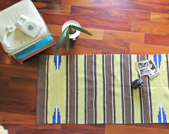 Vintage Yellow Striped Area Rug.  Saddleblanket Rug.Yellow, Brown and Blue Rug. Wall hanging. 2' x 5' area rug. | The Curious Moose