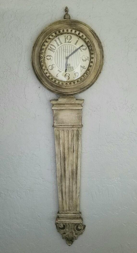 Wall Clock Large Metal Custom Hand Painted Aged Decorative