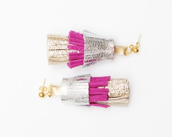 PINEAPPLE 45 / Layered natural leather statement tassel earrings - Ready to ship
