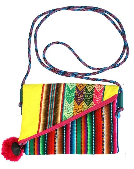 Small, pom pom, adjustable strap, bright yellow, stripes, cross body bag, flat bag