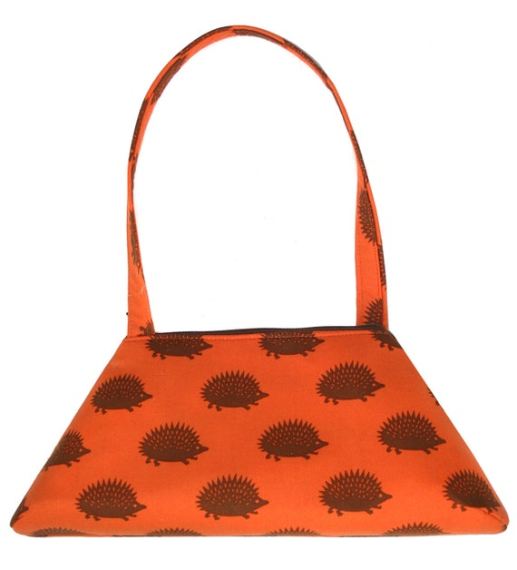 SMALL Retro Tote, hedgehogs, orange, structured bag, vintage inspired