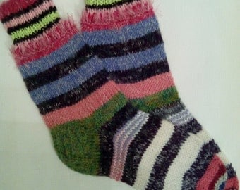 Hand Knitted Wool Socks -Colorful Socks for Women -Wool Socks Size Large-US W 9-9,5,EU 41