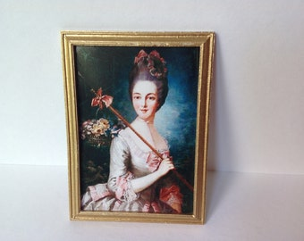 Dollshouse print of a Lady with flowers