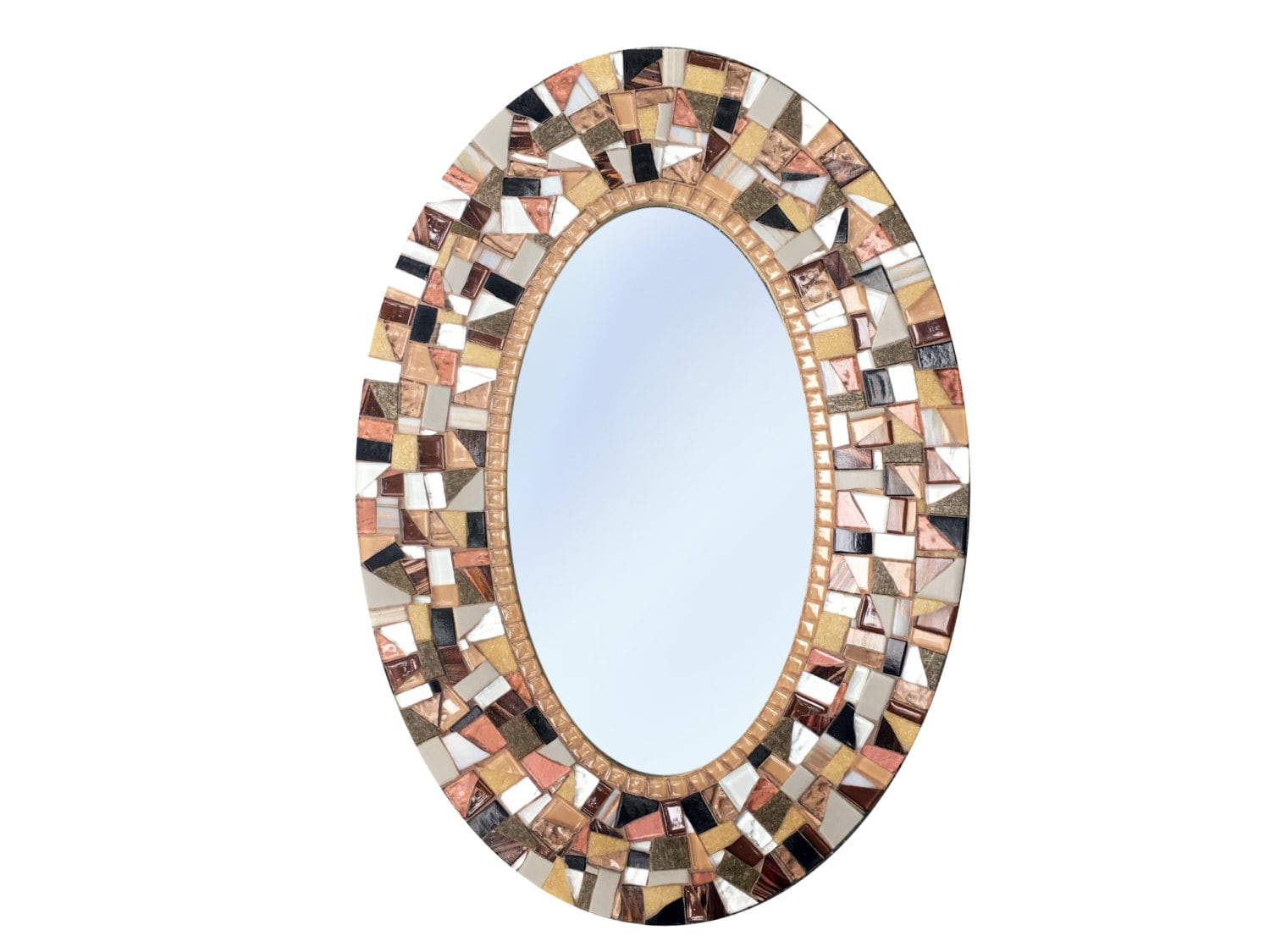Brown oval wall mirror mosaic mirror wall decor - Oval wall decor ...
