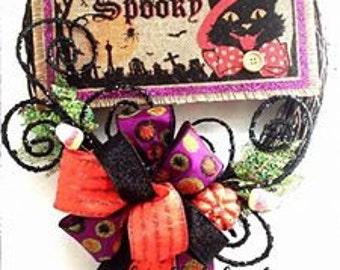 SALE - ONE AVAILABLE!!! Halloween Wreath - Fall wreath - Mesh Wreath - Seasonal Wreath - Door Hanging - Wall Hanging - Seasonal Decoration