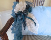 CUSTOM ORDER - LOIS, Hand Dyed Evening Blue Boudoir Pillow, Decorative Blue Pillow, Vintage wedding Lace and Ribbons