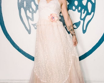 blush & cream embroidered organdy boho wedding dress by mermaid miss Kristin